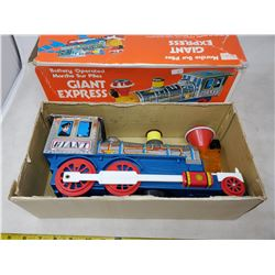 Battery operated 'giant express' locomotive with sounds & lights, vintage