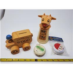 4 items - 1 new, 1 old YoYo, 1 wooden bank, 1 plastic creamer