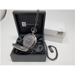 New in box double cased black pocket watch with chain