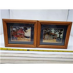 5 x 7 framed vintage garage pictures with Coca-Cola signage