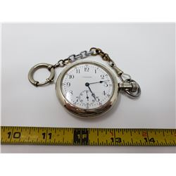 Waltham 24 hour silver cased size 18 pocket watch with chain, good working order