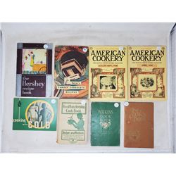 8 cook books, 1 hard cover 2-1933, 1934, 2-1935, 2-1936