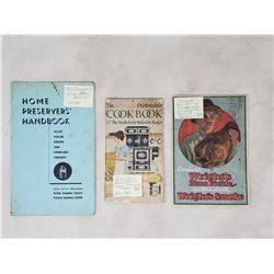 3 booklets 1920's new ranges, b.c. electric, preserves & smoking