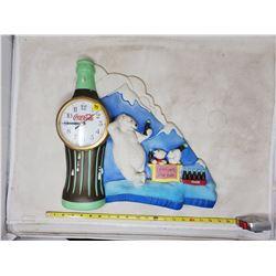 """Coca Cola clock plastic polar bear 15 x 17"""""""
