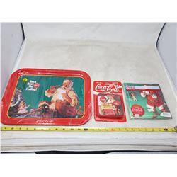 "(3) Coca Cola items, 1-10.5x14"" tray, 4 plastic coasters, pkg of 20 napkins"