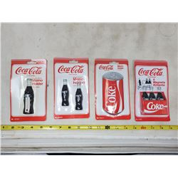 (4) packets of coca cola memo holder magnets