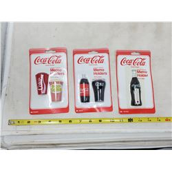 (3) packets of coca cola memo holder magnets