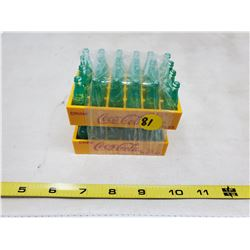 (2) Coca Cola miniatures 24 & 23 bottles in yellow trays