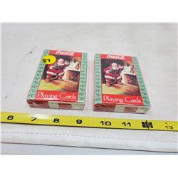 (2) pkgs Coca Cola Santa playing cards