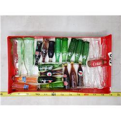 Tray lot of 27 miniature pop bottles (most full)