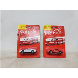 Pair of die cast Coca Cola toy cars