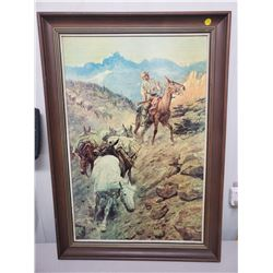 limited edition print - C.M. Russell 'Mule Pack Train' framed, measures 23.5 x 33 inches
