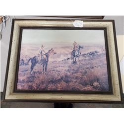 limited edition print C.M. Russell 1913 'Deadline on the range' framed measures 26.5 x 20.6 inches