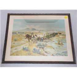 limited edition print O.C. Seltzer 'Wagon Train' framed 16.75 X 12.75 inches