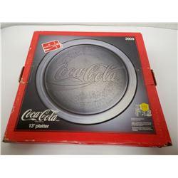 """Coca-Cola 13"""" 1990 glass platter, New in box"""