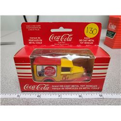 small 1920's/30's die cast coca-cola delivery truck- yellow