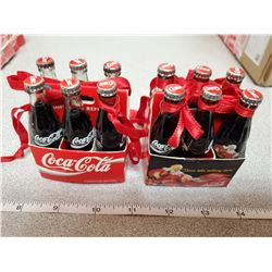 2 mini 6pack coca-cola bottles with ribbons to hang on christmas tree
