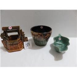 Roseville planter, McCoy wishing well, numbered green dish