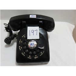 Rotary black telephone