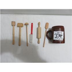 Child wooden bakery utensils and old Weller mug