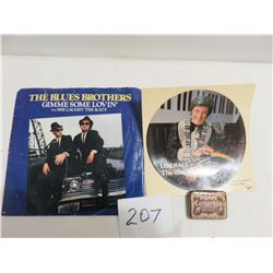 Blue Brothers 45, Liberace pot of gold record offer and tin of Columbie soft tone antique needles