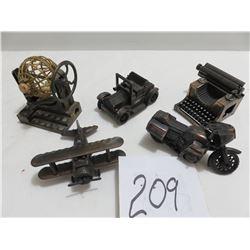 5 metal pencil sharpeners, motorcycle, plane, typewriter etc.