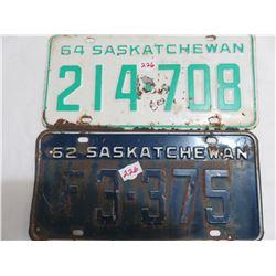 1962 & 1964 Saskatchewan license plates