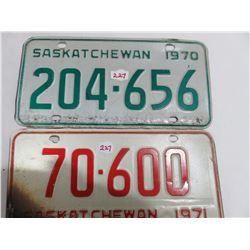 1970 & 1971 Saskatchewan license plates