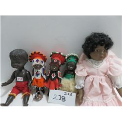 5 black dolls, 1 soft bodt, 3 beaded hanging, 1 boy