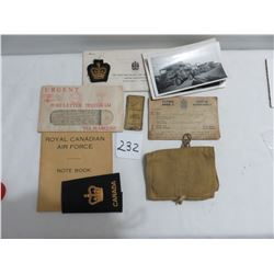 WWII ration book - war pack needles sewing kit - telegram badges, pictures, paperwork