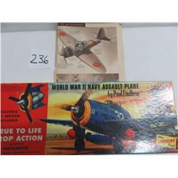 WWII Navy assault plane model kit with electric motor 13 x 5 plus WWII plane identification pamphlet
