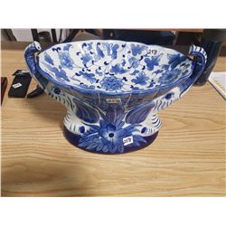 "14"" Long Cobalt Blue Porcelain Bowl"