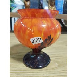 "7"" Glass Goblet Vase Indigo Orange Molten Flow Pattern"