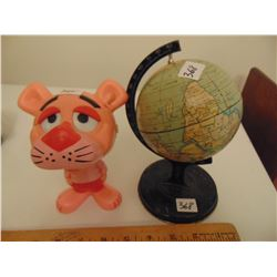 VINTAGE TOY GLOBE AND PINK PANTHER SOUND WORKS