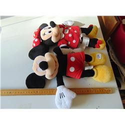 MINNIE (BOW LOOSE) AND MICKEY MOUSE DISNEY STORE STUFFED CHARACTERS