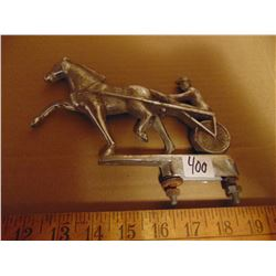CAST METAL HORSE AND BUGGY ORNAMENT ANTIQUE