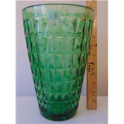 "E.O. BRODY 1960'S 10"" GREEN PRESSED GLASS VASE"