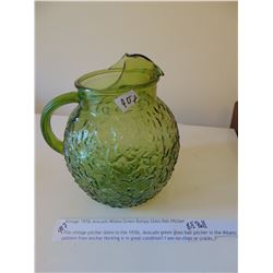 "8 1/2"" 1970'S AVOCADO GREEN PITCHER"