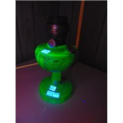 ALADIN VASELINE/URANIUM GLASS LANTER WITH NU-TYPE MODEL B WICK BURNER 1ST PHOTO WITH BLACK LIGHT ON