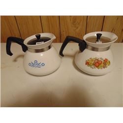 TWO 6 CUP CORNING WARE POTS