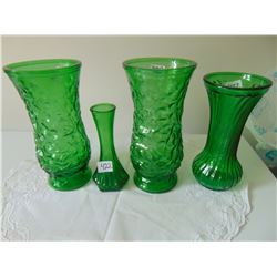 GREEN HOOSIER GLASS VASE LOT