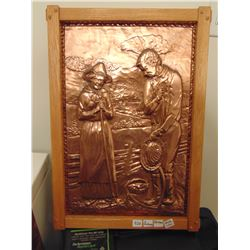 "A NADEAU 16 BY 22"" OAK FRAMED COPPER ART"