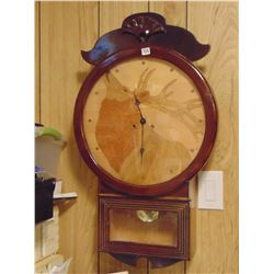 HAND MADE ELK FACED DIAL ON OLD CLOCK FRAME WORKS WITH PENDULUM AND KEY