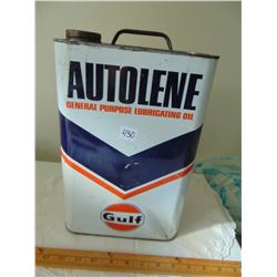 1956 2 GALLON GULF AUTO-LENE OIL TIN