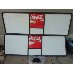 2 LARGE COKE MENU BOARDS & SOME LETTERS