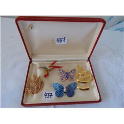 BOX OF 5 BROOCHES BIRD BUTTERFLY ETC