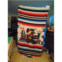 "45"" BY 84"" AZTEC DESIGN MEXICAN BLANKET"