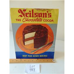 NEILSEN'S THE CHOCOLATE COCOA CARDBOARD COUNTER SIGN