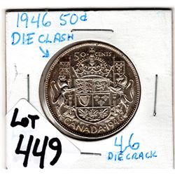 NICE CONDITION 1946 50 CENT WITH DIE CRACK 4-6 AND CLASH