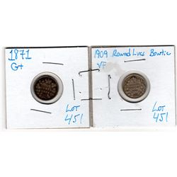 1870 & 1909 SILVER FIVE CENTS